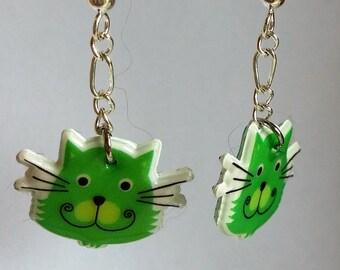 Cute Green Cat Earrings