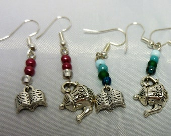 Tea and books earrings