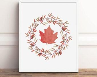 Fall Print, Autumn Leaves, 8x10 Printable Art, Instant Download, Leaf Autumn Decor, Seasonal Decorations, Wreath Digital Poster, 5x7, 11x14