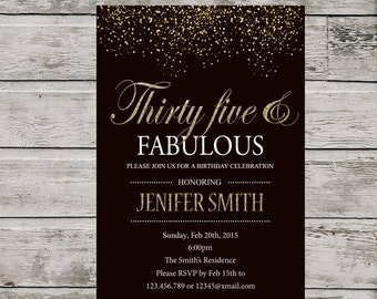 35th Birthday Invitation For Women PRINTABLE Thirty Five And Fabulous Invite Silver Glitter Printable