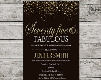 75th Birthday Invitation For Women PRINTABLE Seventy Five Invite Silver Glitter And Fabulous