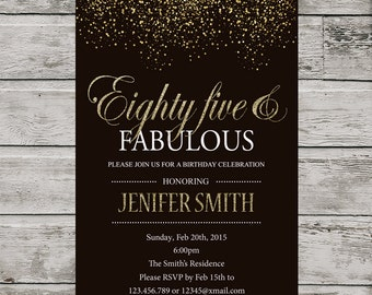 85th Birthday Invitation For Women PRINTABLE Eighty Five Invite Silver Glitter And Fabulous