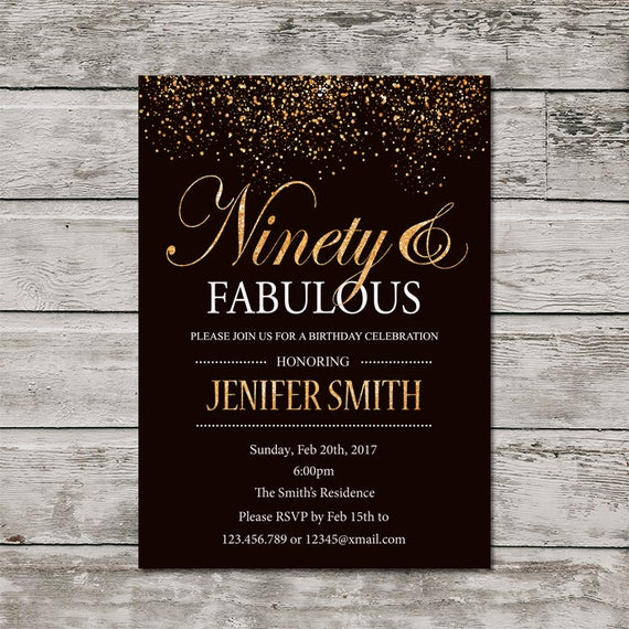 Gold 90th Birthday Invitation For Women PRINTABLE Ninety And