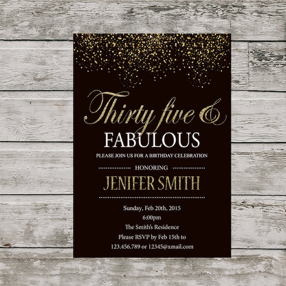 35th Birthday Invitation For Women PRINTABLE Thirty Five And