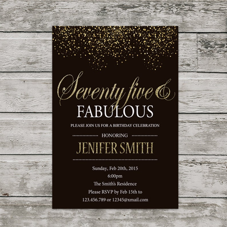 75th Birthday Invitation For Women PRINTABLE Seventy Five