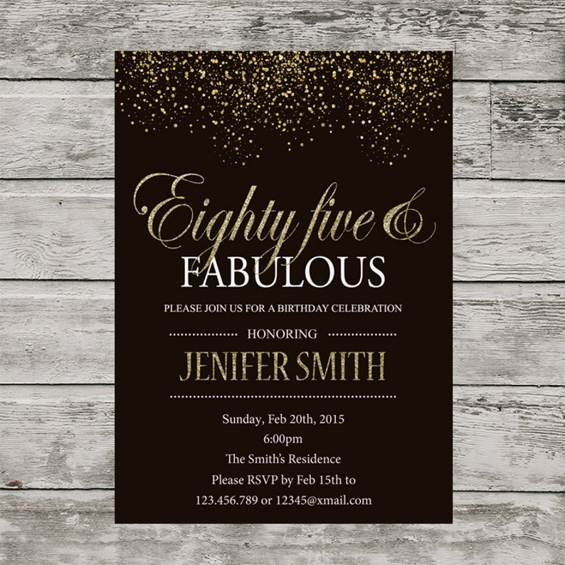 85th Birthday Invitation For Women PRINTABLE Eighty Five