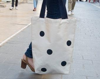 Chiara bag large Navy Blue polka dot