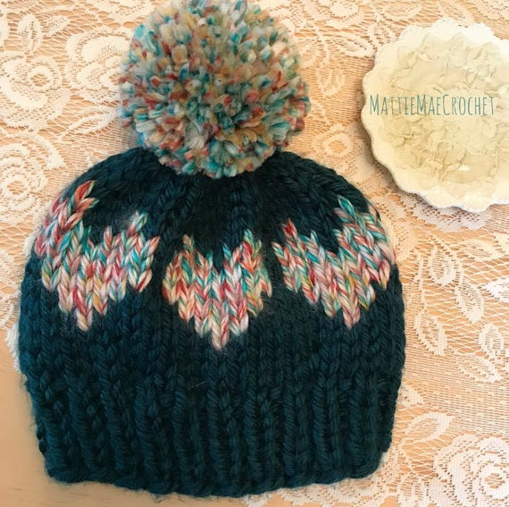 The Knitted Hearts Beanie Pdf Digital Download Knitting Etsy