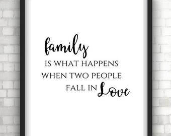 Monochrome Family is what happens typography quote print, wall art, wall hanging, home decor, wall decor, foil print, love quote, family