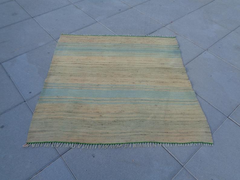 Small Kilim Rug,Faded Turkish Sink Rug,Tiny Rustic Rug,Unique Little Bedside Rug 2/' 9/'/' x 3/' Boho Mini Bath Mat,Flat Woven Gift Rug,Door mat