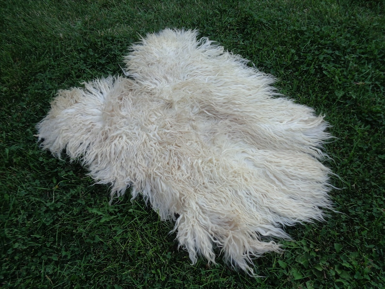 Organic Goatskin Rug,Soft Long Hair Durable Animal Leather,Silky Real Pelt Craft,Pet Bed For Cat3/' 4/'/' X  2/' 9/'/'Chair Cover,Country Home Rug