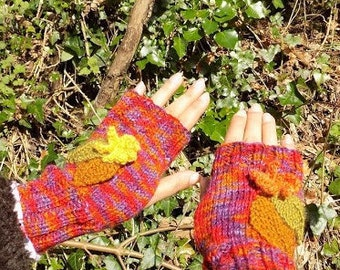 hand knitted fingerless gloves,autumn flowers and leaves