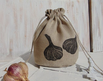 Natural linen bag, small storage, fabric, gift bag, produce bag, grocery, reusable, 4x5 inch, kitchen, garlic