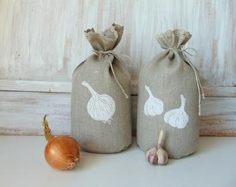Set of 2, 5x10 inch, organic storage bag, food bag, onion, garlic, reusable produce bag,