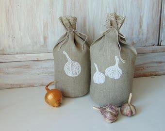 Set of 2, 5x10 inch, storage bag, reusable produce bag, organic storage bag, food bag, onion, garlic
