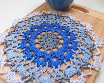 Home decor, blue crochet doily