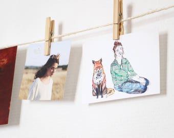 Carte postale illustration renard et fille rousse