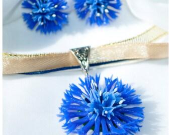 Cornflower pendant Blue flower earrings clay Blue flower pendant Cornflower earrings Cornflower flower jewelry Ring polymer clay flowers