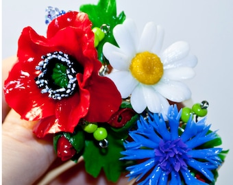Poppy Hair clip Daisy hair clip Flower hair clip red Flowers for hair Polymer clay flowers hair accerories Cornflower hair clip blue