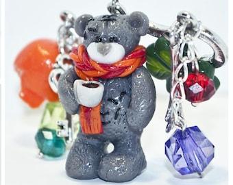 Teddy bear brooch Winter brooch Cute brooch  Polymer clay brooch Winter brooch Animal jewelry Cute animal brooch Birthday gift idea