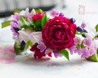 Purple peony bracelet Purple flower bracelet Rose bracelet Wedding bracelet Bridal bracelet Polymer clay jewelry Spring flowers clay