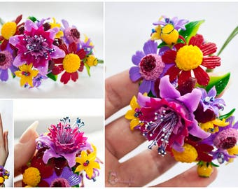 Gift for women Flower bracelet Polymer clay flower bracelet Flowers Purple bracelet Purple flowers Daisy clay Clay corsage Polymer jewelry