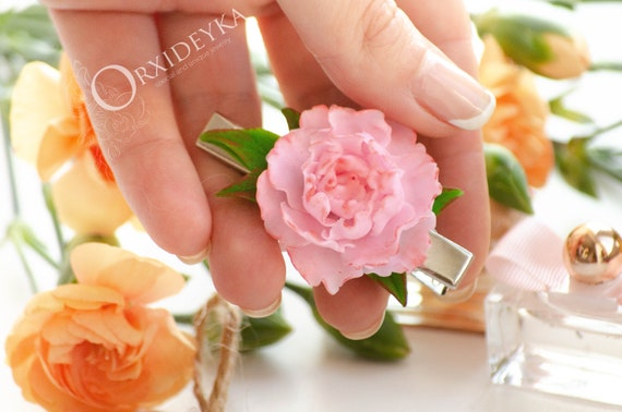 Earrings-Bracelet-Gift for Women Pink Peony Flower Set Set Pink Peony 2 Items-Polymer Clay Flowers-Birthday Accessories