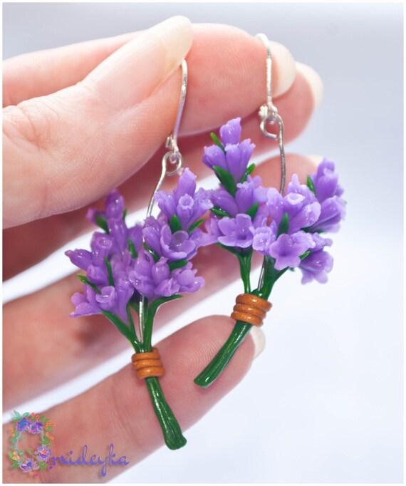 Lavender flower earrings