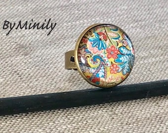 Round cabochon - paisley - cashmere - flower ring