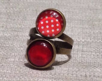 Ring cabochon double 12 mm - timeless - red - red with white polka dots - timeless