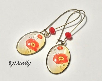 oval cabochons - dangling ovals - poppies - poppy earrings