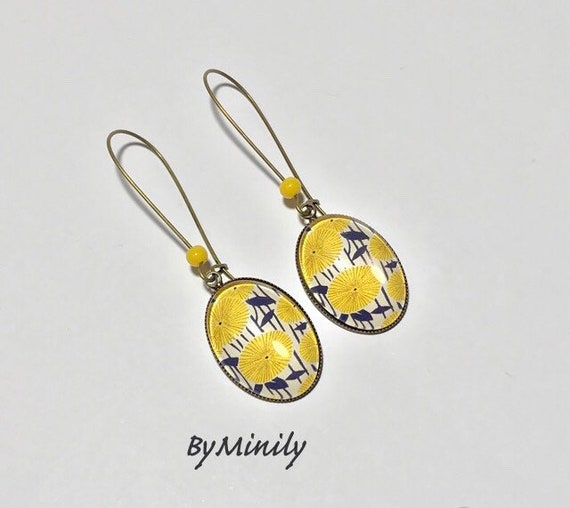 large sleepers pendant oval cabochons earrings wax yellow