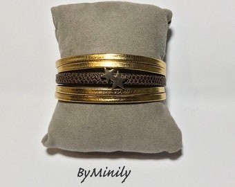 From gold, Brown, gold MULTISTRAND leather bracelet stars - gift - Valentine's day Christmas gift idea - mother's day