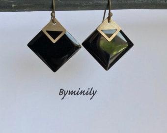 Sequins - graphic - black - diamond earrings