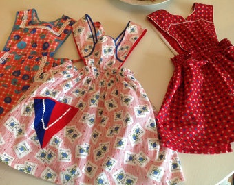 Vintage Little Girl Aprons, Country Floral Aprons Handmade Child 1950s Set of three