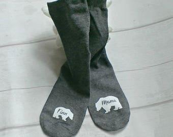 Handmade mama bear socks, keepsake socks, socks for mum, mummy socks, mama bear, mama socks