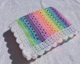 8594999409948 Handmade Pastel Rainbow Crochet Baby Blanket, Rainbow Baby Blanket, Pastel  Crochet Blanket, Baby Shower Gift, Nursery Decor, Pride. CrochetSapphire. 5  na ...