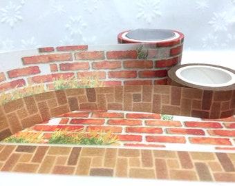 Red Brick Wall Thin Washi Tape 15mm Masking Tape Decorative Tape