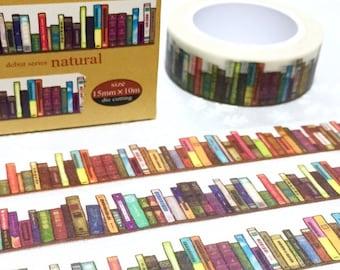 Bookshelf washi Masking tape 10M colorful books deco masking tape Reading planner sticker Reading Library books  scrapbook diary gift