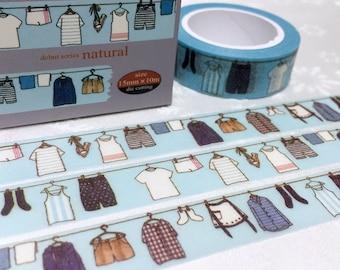 hanging clothes washi tape  10M x 1.5 CM do the laundry clothing labels sticker laundry theme fashion washi masking tape decor tape gift