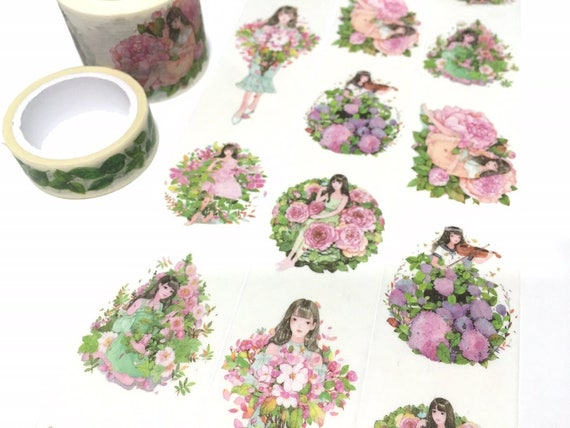 Cute Girl Washi Tape 8m X 35cm Pink Flower Teen Girl Pretty Etsy
