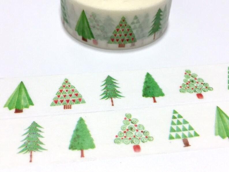Green tree washi tape 7M pine tree oak tree fir tree rainforest forest Tree Christmas tree green world tree scenes landscape sticker tape