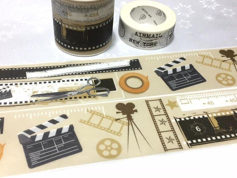 movie film strip photo film strip filmstrip washi tape 7M x 4cm film tool  clapper board film clapboard movie theme decor sticker tape