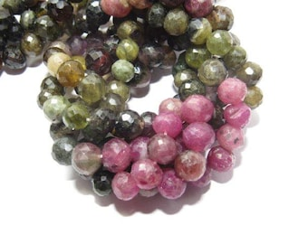 """75% off Natural Tourmaline Awsome Faceted Round Shape Beads Size approx 7 MM , Lenght 10.5""""Inch"""