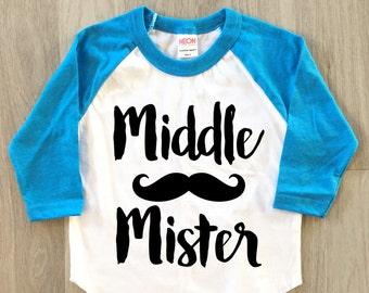 Middle Brother Mustache Raglan shirt - baby boy clothes toddler shirt sibling tshirt