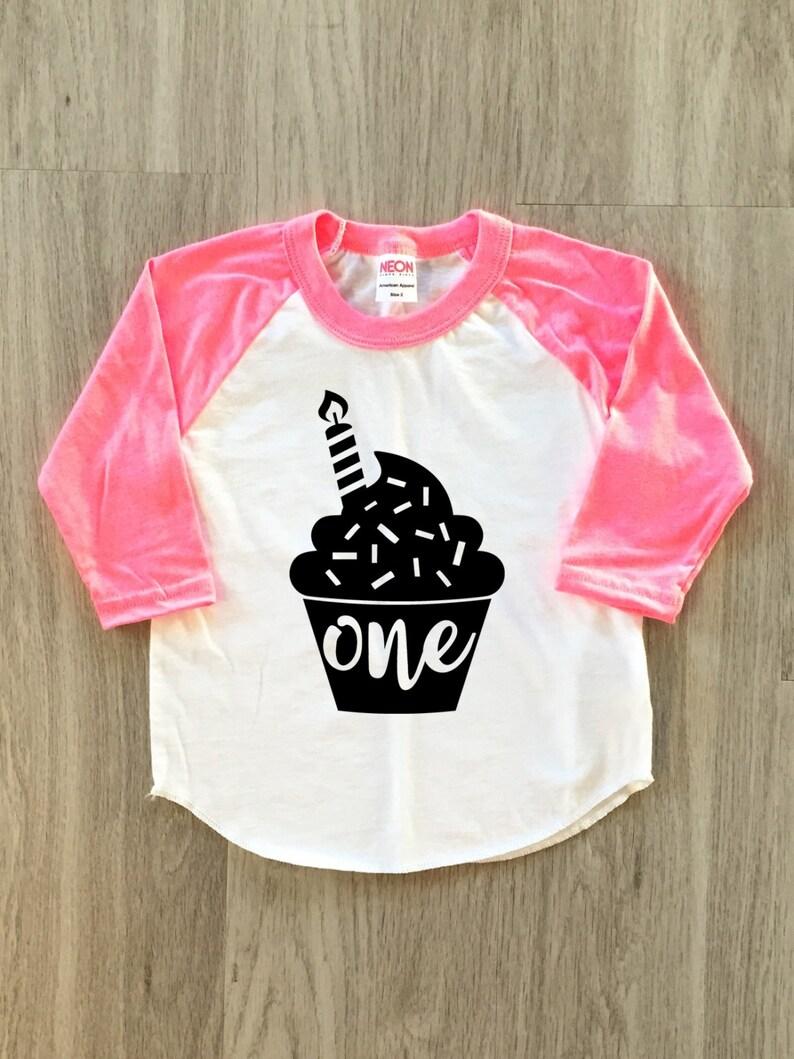 Cupcake 1st Birthday Tshirt Baby Boy Or Girl First