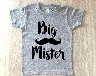 Big Brother tshirt - baby boy big mister mustache shirt - toddler t-shirt - summer tee