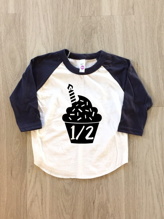 Cupcake Half Birthday Shirt 1 2 Tshirt Baby Boy