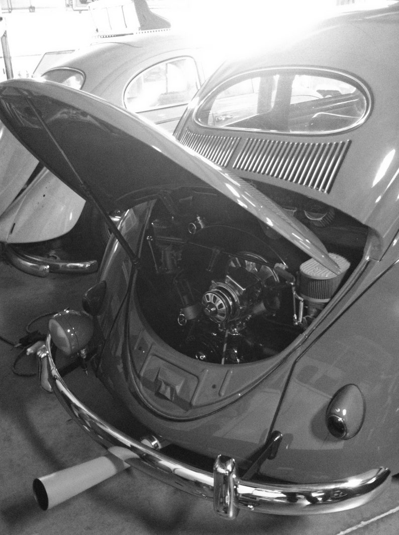 black and white Photograph of Volkswagen Beetle, VW bug, Volkswagen, vw  photography, German car, old car, exhaust pipe, vw engine, hot vws
