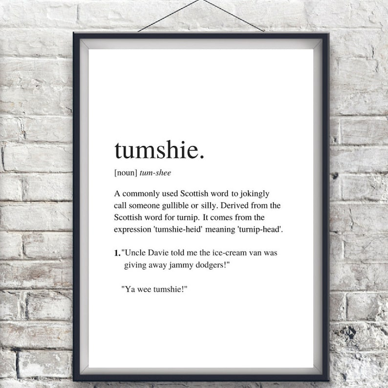 Tumshie | Custom Print | Scottish Slang | Funny Print | A4 Unframed